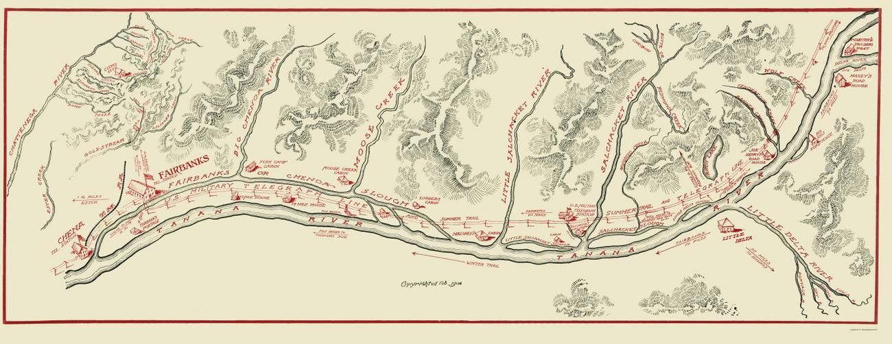 Old State Maps | TANANA RIVER TELEGRAPH LINE ALASKA (AK) 1906