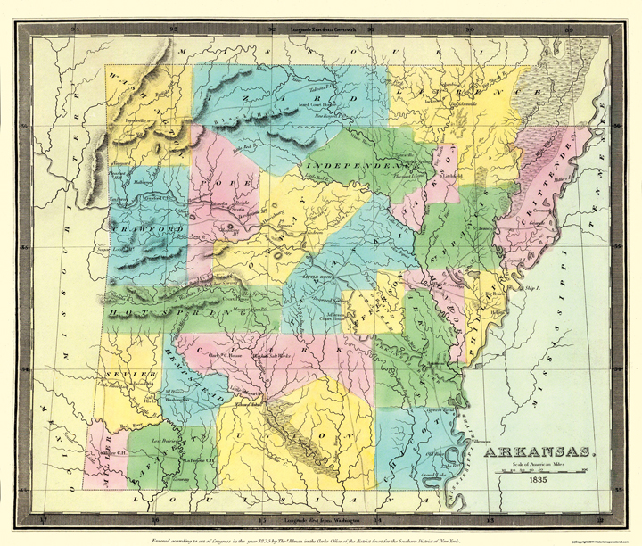 Old State Maps  ARKANSAS TERRITORY AR BY DAVID H BURR 1835