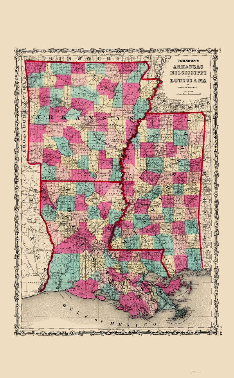 Old State Maps  ARKANSAS MISSISSIPPI AND LOUISIANA AR