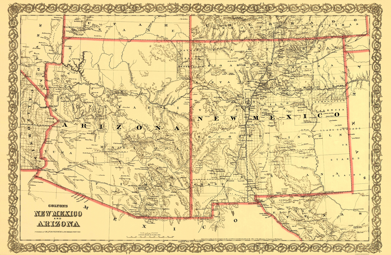 Old State Maps  ARIZONA AND NEW MEXICO NMAZ BY COLTON 1873