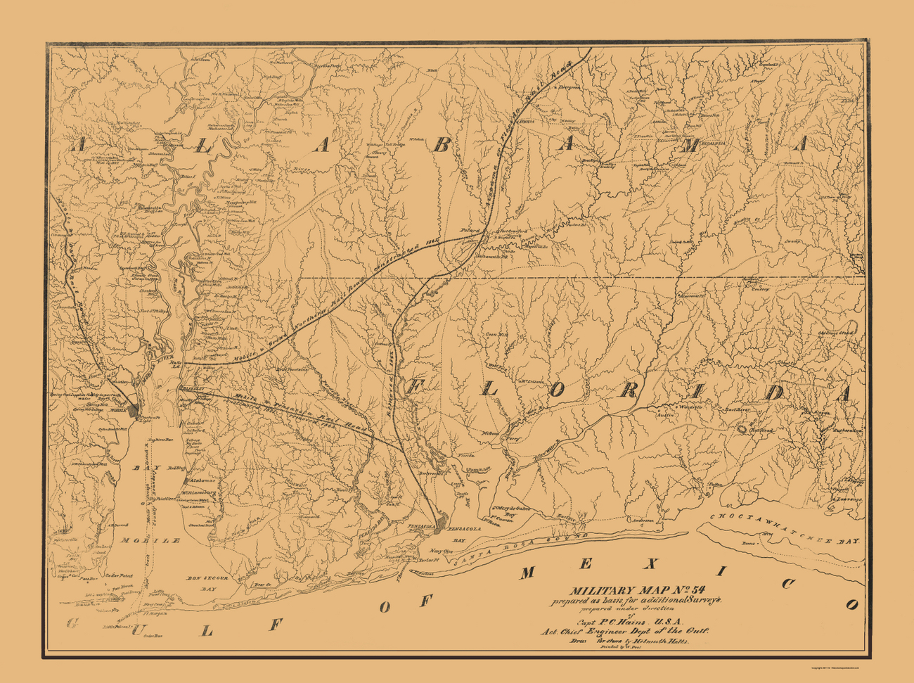 Civil War Maps  ALABAMA SOUTH Amp FLORIDA WEST MILITARY AL