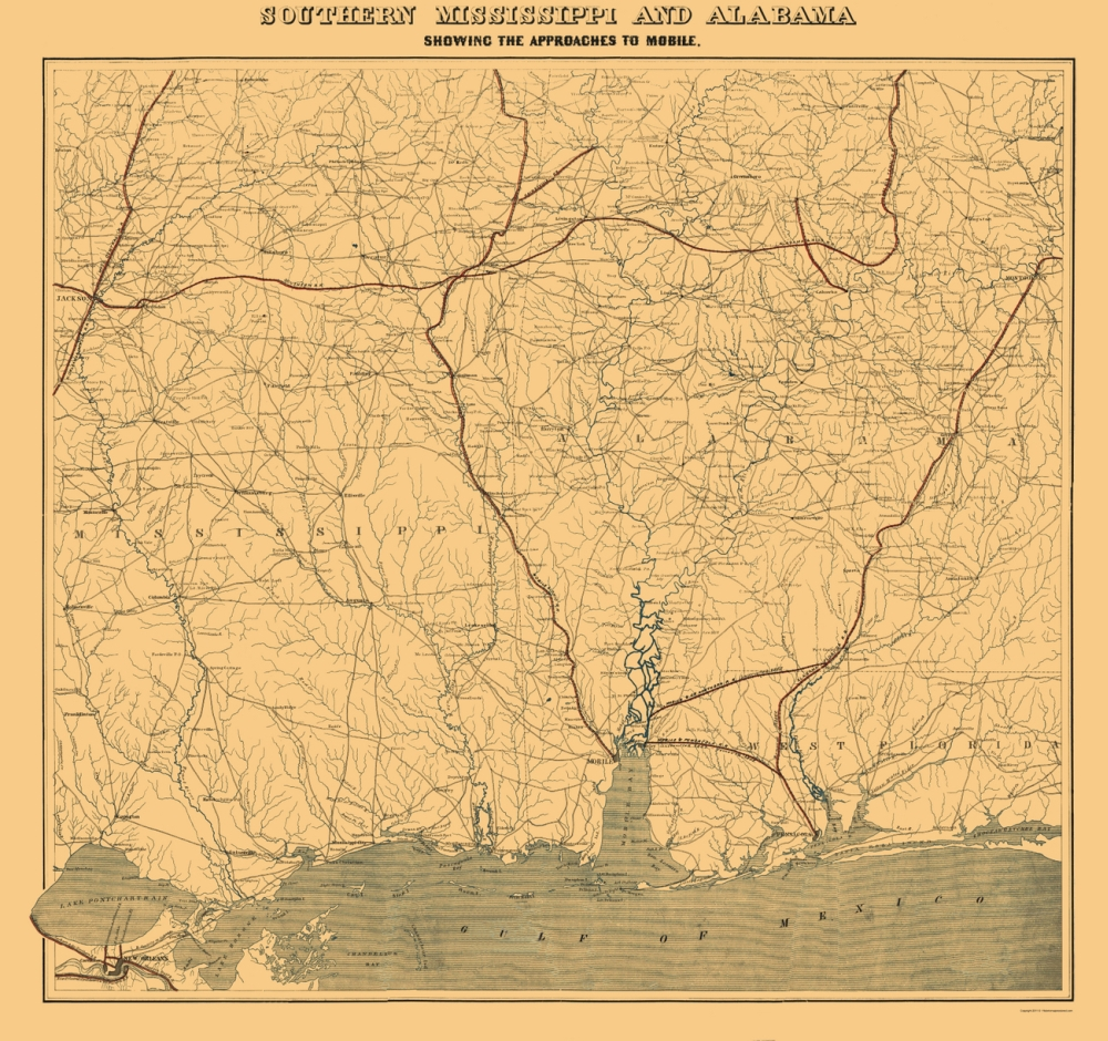Civil War Maps  MISSISSIPPI SOUTHERN Amp ALABAMA MSAL BY