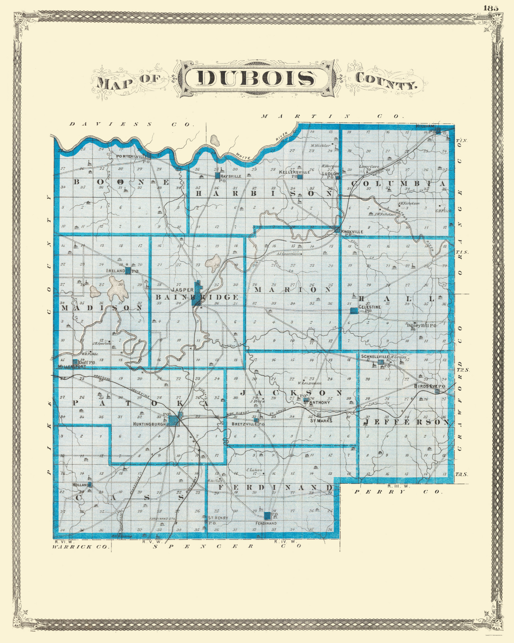 Old County Maps  DUBOIS COUNTY INDIANA IN BY BASKIN