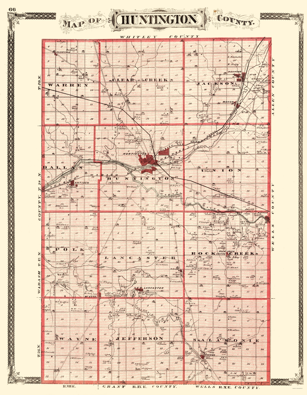 Old County Maps  HUNTINGTON COUNTY INDIANA IN BY BASKIN