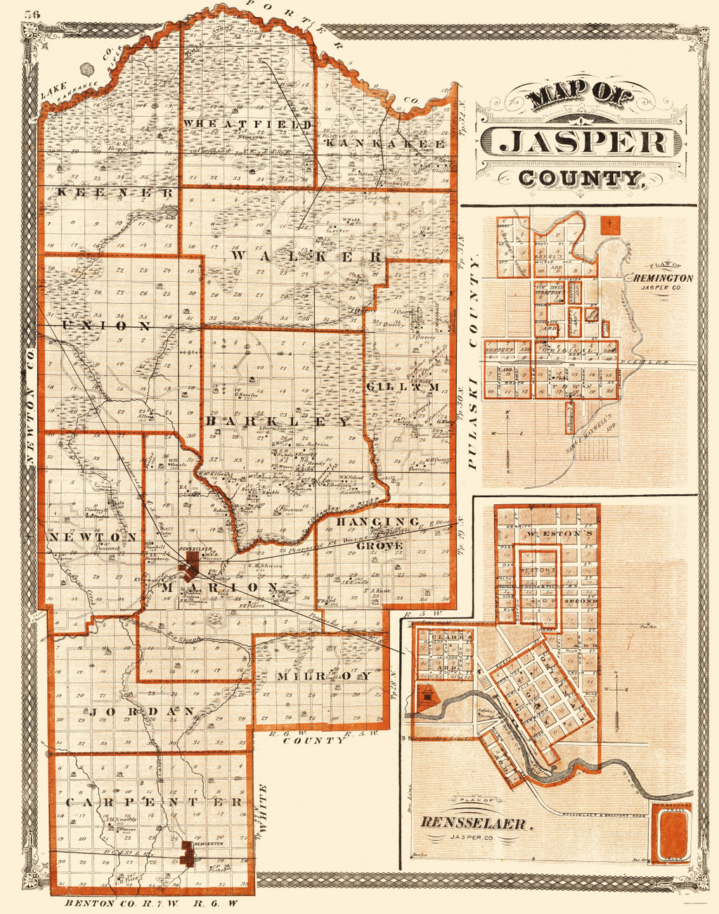 Old County Maps  JASPER COUNTY INDIANA IN BY BASKIN
