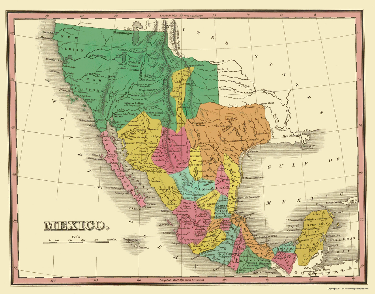 Old International Maps Mexico With Texas And Upper