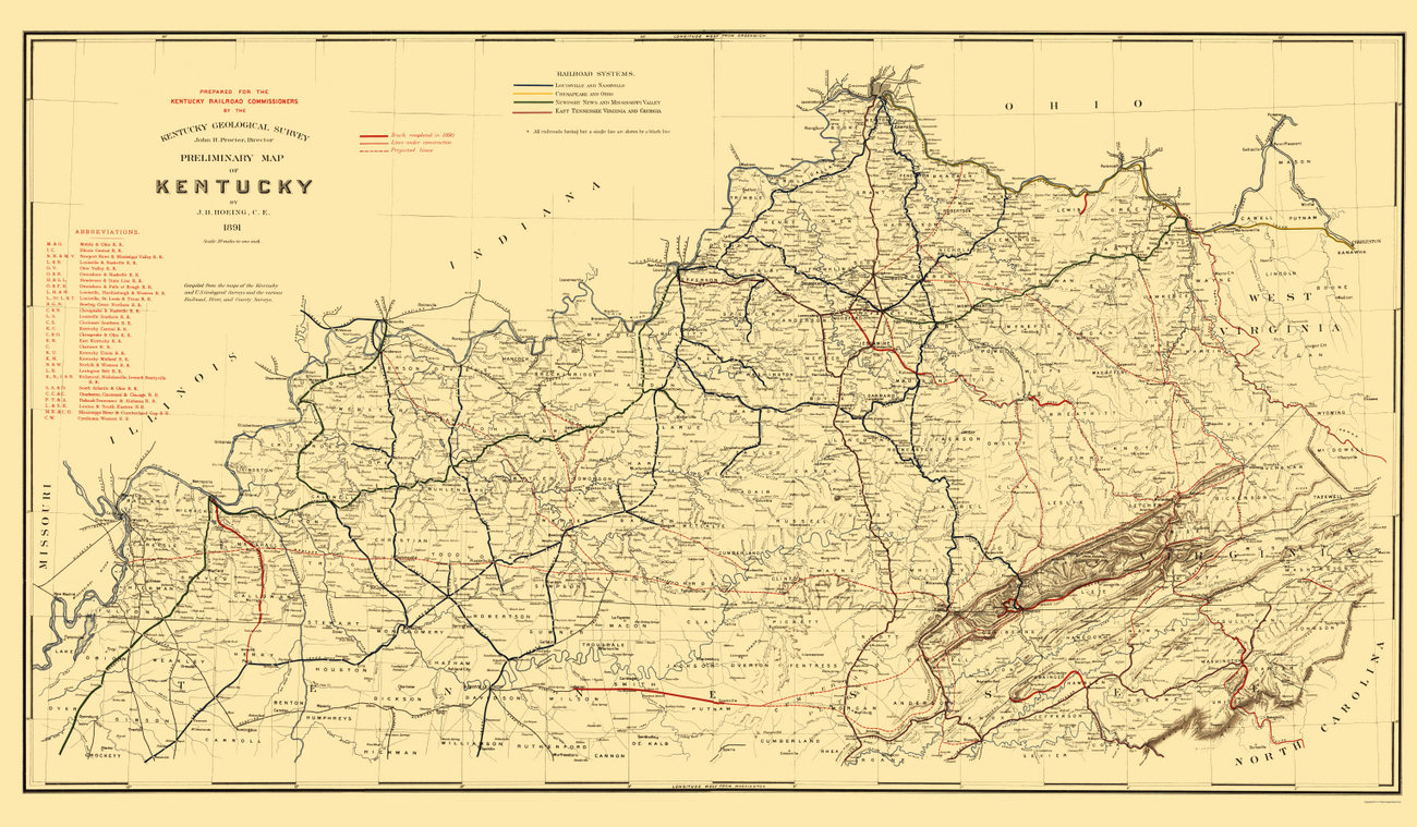 Old Railroad Maps  KENTUCKY RAILROAD KY BY HOEING 1891