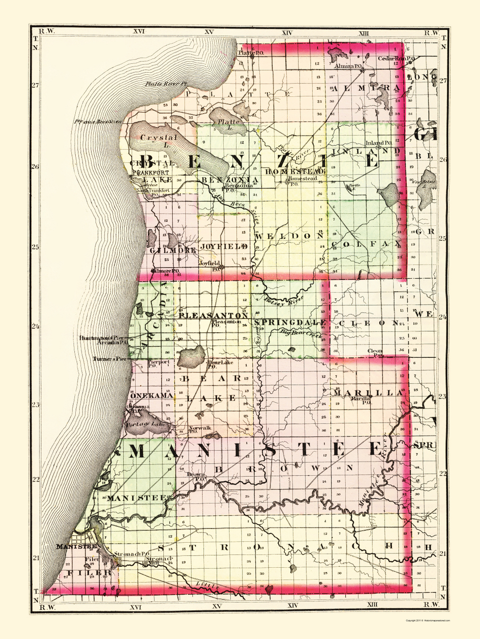 Old County Maps BENZIE MANISTEE COUNTIES MICHIGAN MI BY TACKABURY 1873