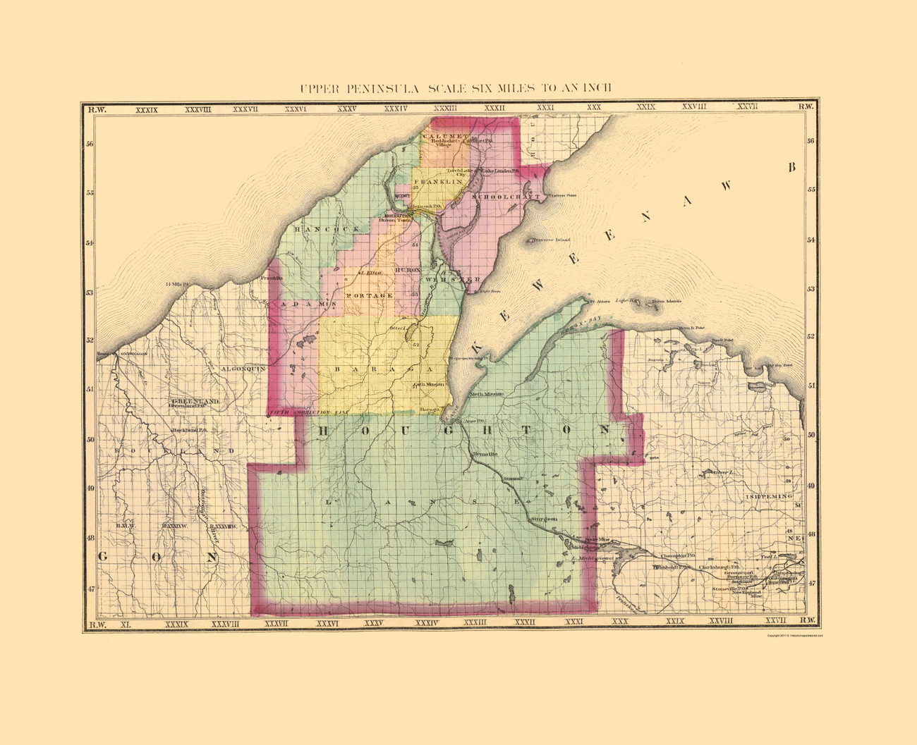 Old County Maps  HOUGHTON COUNTY MICHIGAN MI BY