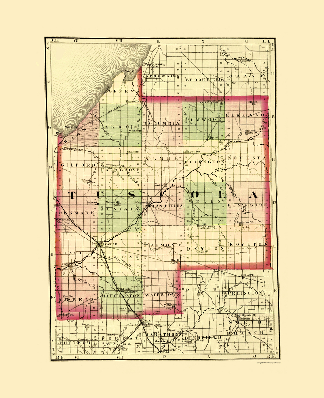Old County Maps Tuscola County Michigan Mi By