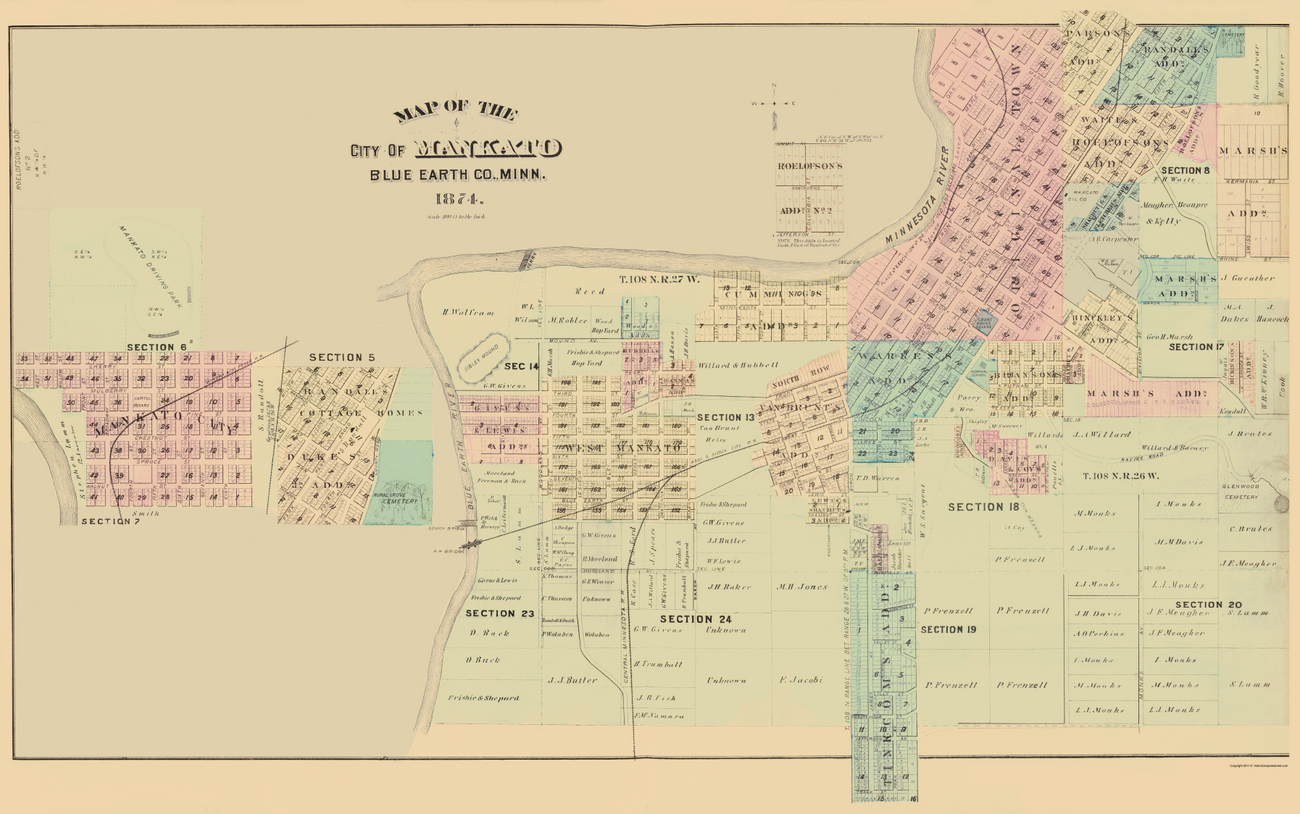 Historic City Maps  MANKATO MINNESOTA MN BY AT