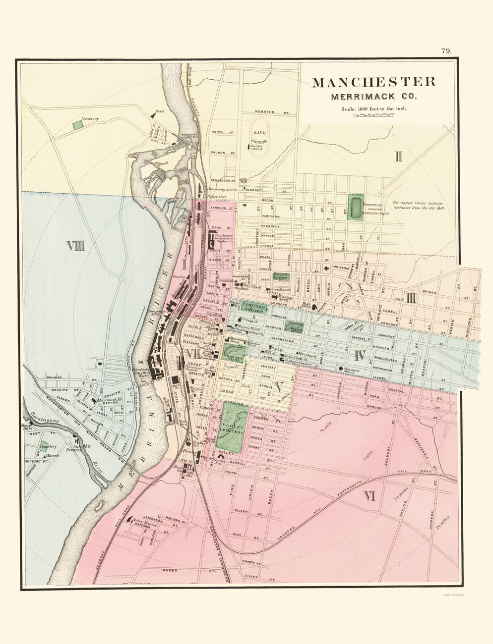 Historic City Maps  MANCHESTER NEW HAMPSHIRE NH BY
