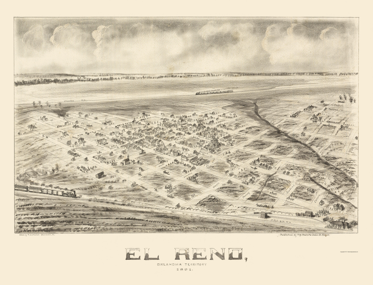 El Reno (OK) United States  city images : Old Panoramic Maps | EL RENO OKLAHOMA OK BY T.M. FOWLER & J.B. MOYER ...