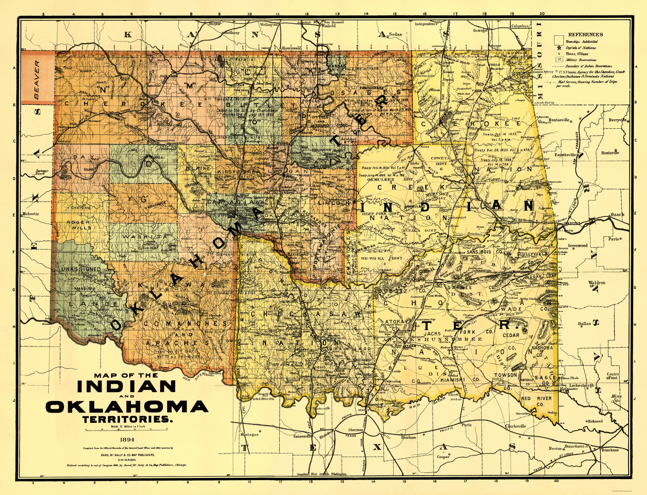Old State Maps INDIAN AND OKLAHOMA TERRITORIES OK BY RAND MCNALLY 1894