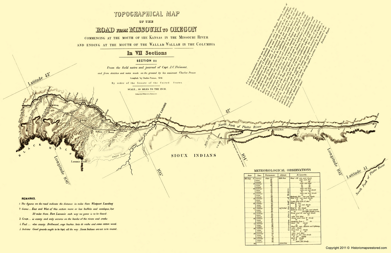 Historical Topographical Maps  OREGON TRAIL  WYOMING