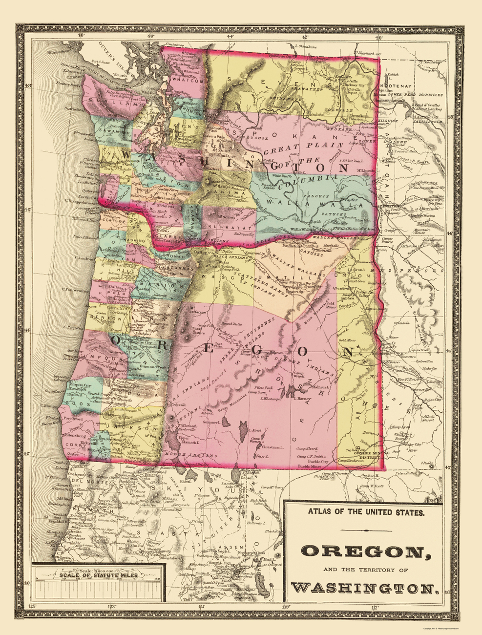 Old State Maps  OREGON AND WASHINGTON ORWA BY