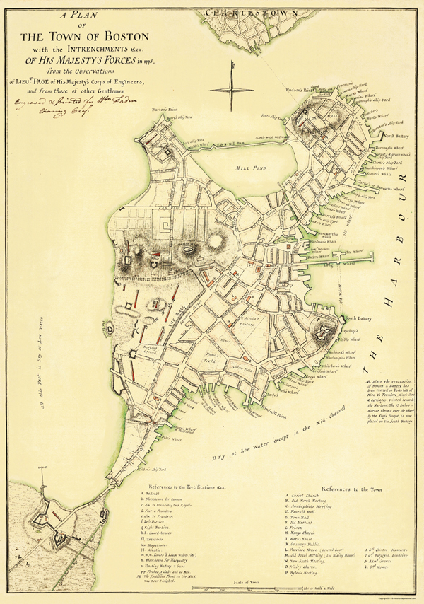 Revolutionary War Maps  BOSTON WITH THE INTRENCHMENTS OF