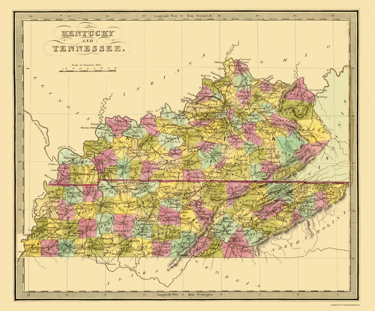Old State Maps Kentucky Amp Tennessee Kytn By