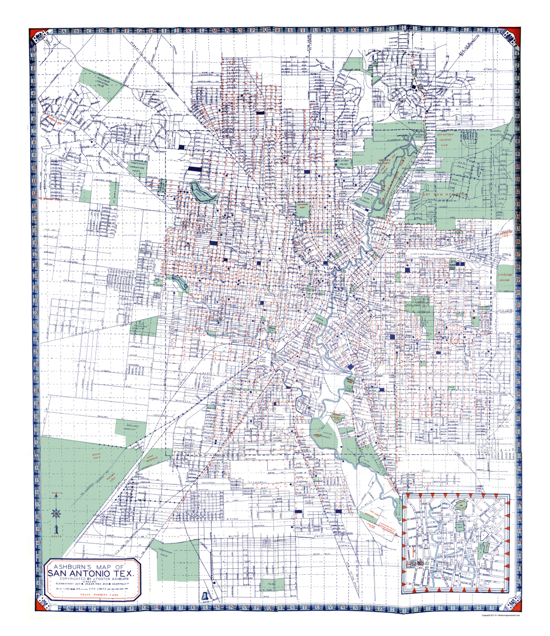 28 San Antonio Texas Map Vintage Historic City Maps