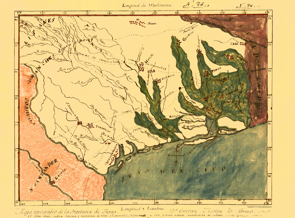 Old State Maps  MAP OF THE PROVINCE OF MEXICAN TEXAS