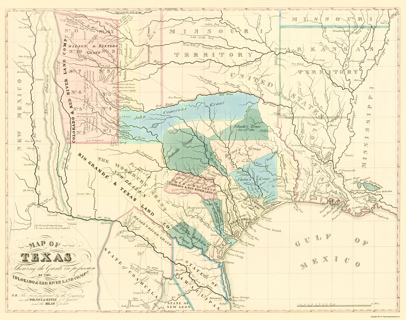 Old State Maps  TEXAS MAP OF GRANTS BY THE COLORADO AND