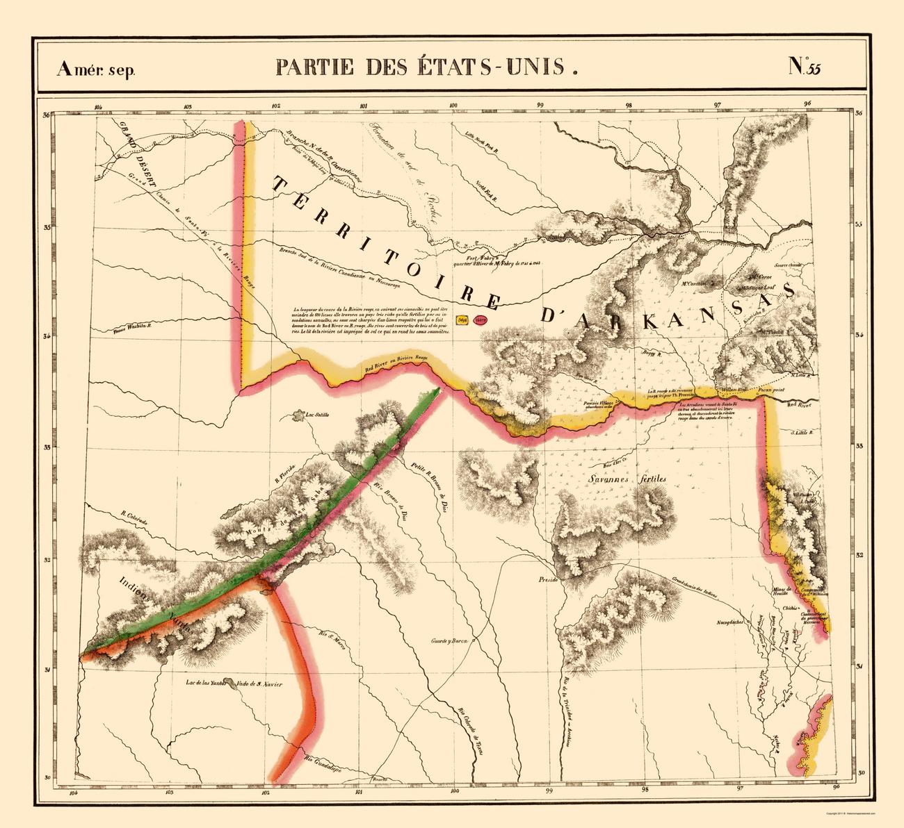 Old State Maps  TEXAS AND ARKANSAS TERRITORY TXAROK