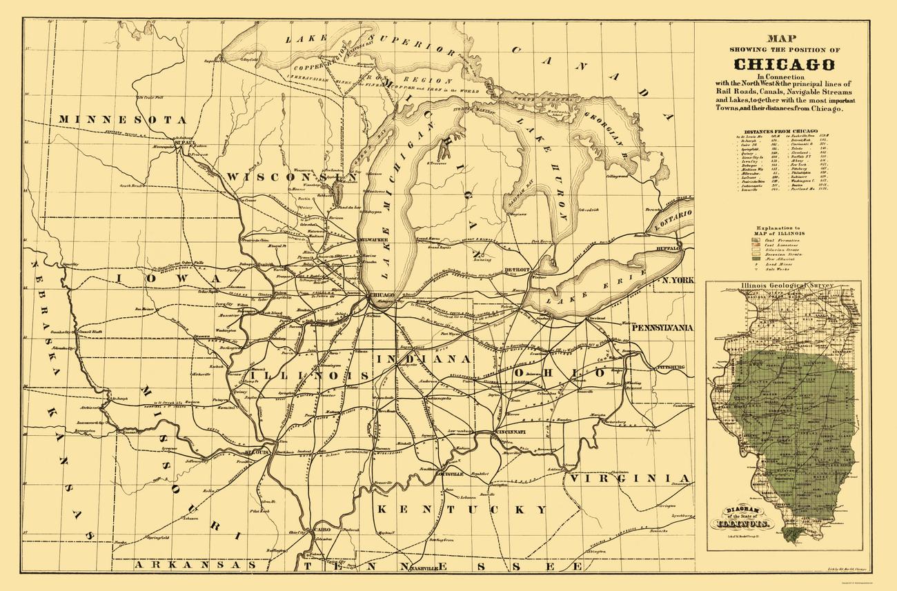 Old Railroad Maps  CHICAGO RAILROADS MNMIWIIAMOOH