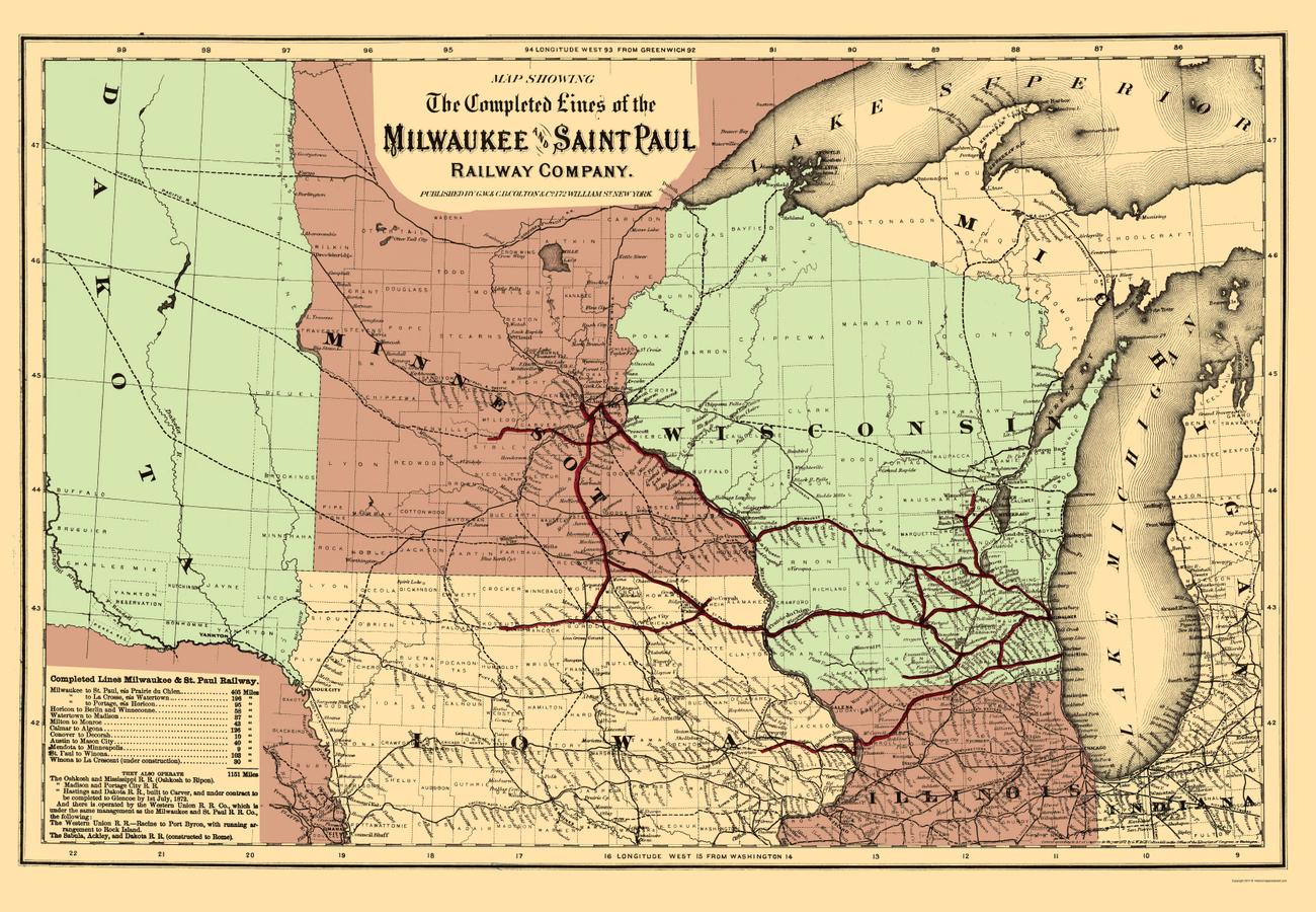 Old Railroad Maps  MILWAUKEE Amp SAINT PAUL RAILWAY WIMN