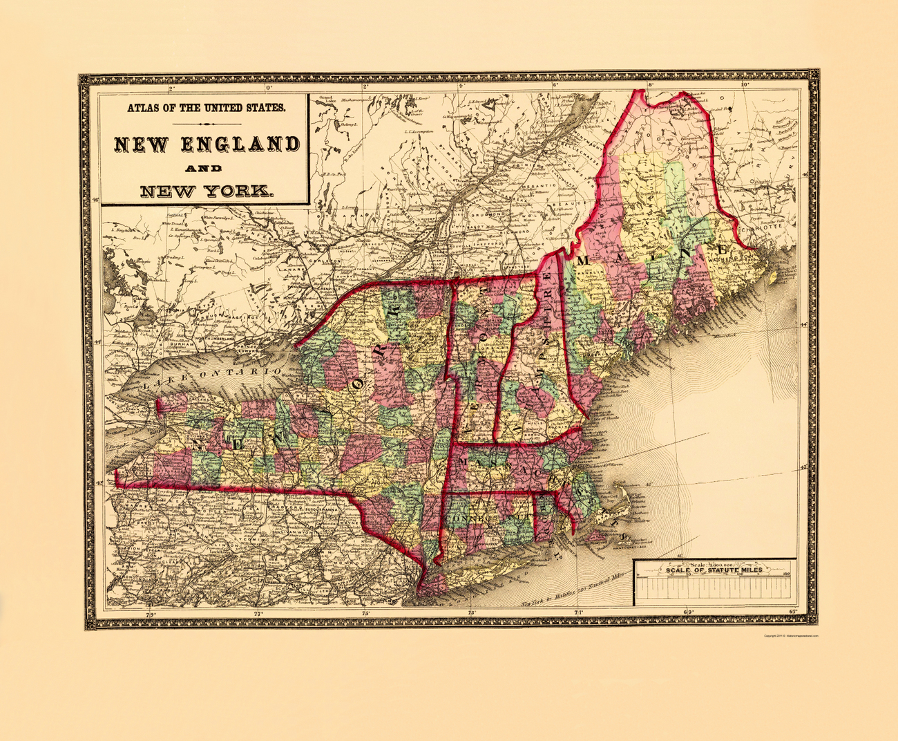 Old State Maps  NEW ENGLAND Amp NEW YORK MANHMEVTNYCT