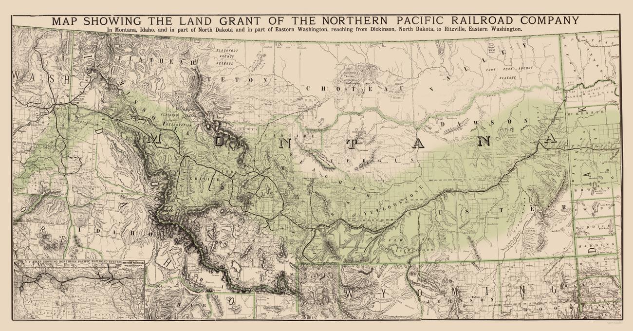 Old Railroad Maps  NORTHERN PACIFIC RAILROAD LAND GRANTS