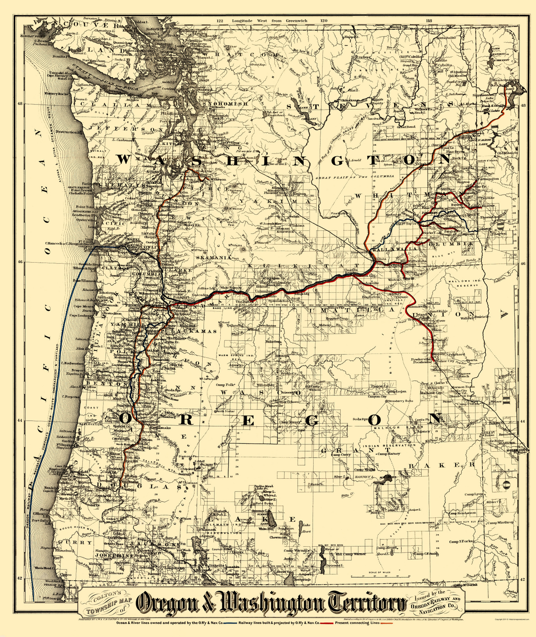 Old Railroad Maps  OREGON AND WASHINGTON TERRITORY BY