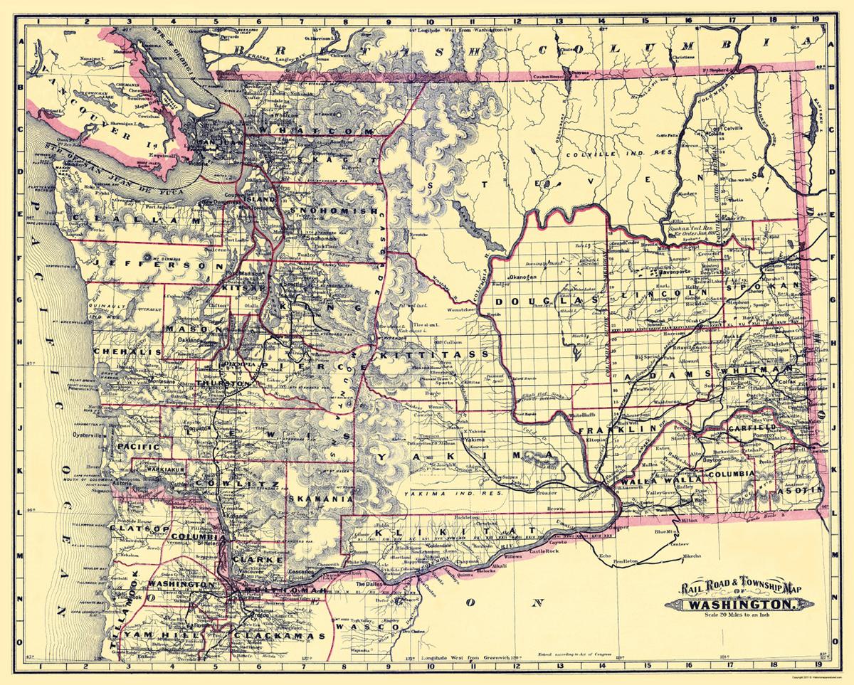 Old Railroad Maps  WASHINGTON WA STATE RAILROAD