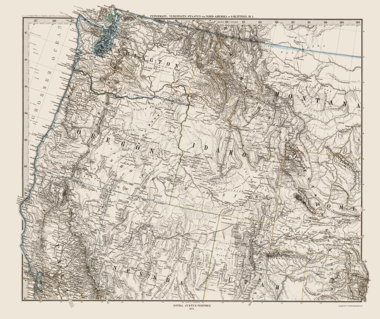 Washington (UT) United States  city photos : Northwest United States WA MT ID or NV WY UT CA by Petermann 1872 ...