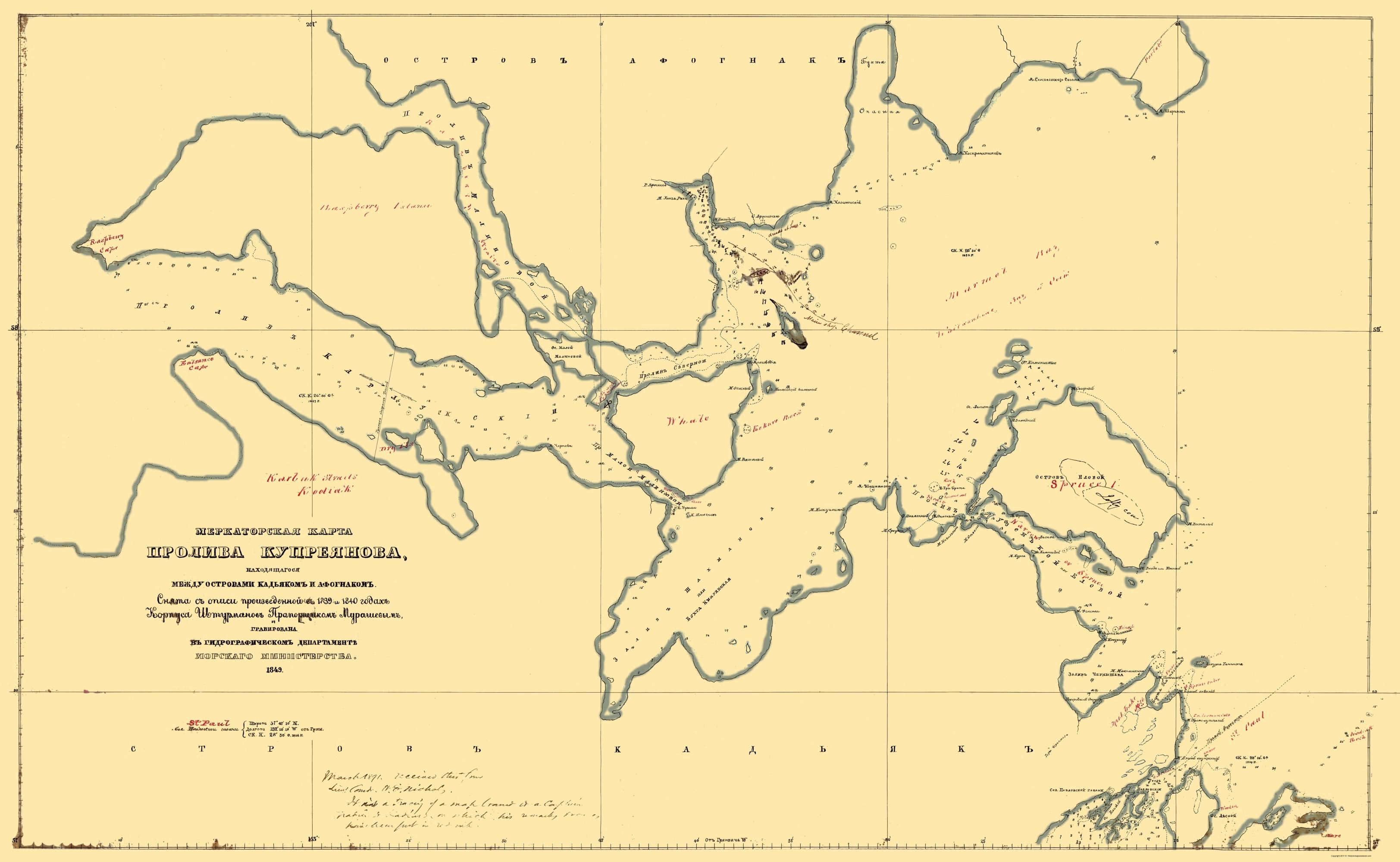 Old State Map - Kodiak Island Alaska - Murashev 1849 - 23 x 37.35 on maui map, south of azov world map, douglas island map, st. michael island map, viking island map, prince edward island map, brunswick island map, orange island map, virginia island map, philadelphia island map, new orleans island map, eastern gulf coast map, alaska map, sitka map, death valley map, st. paul island map, spruce island map, raspberry island map, chitina river map, manzanillo island map,