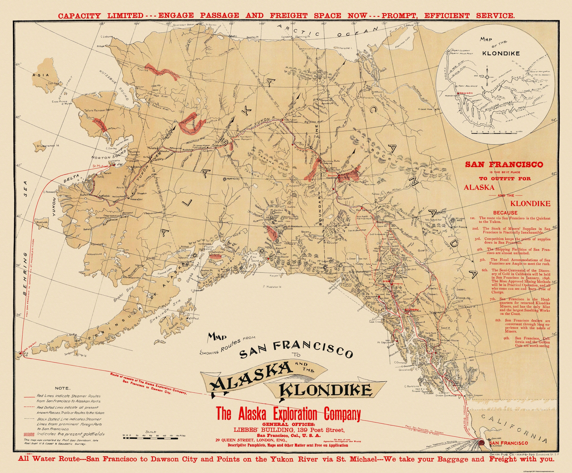 Old Mining Map San Francisco To Alaska - Yukon river on us map