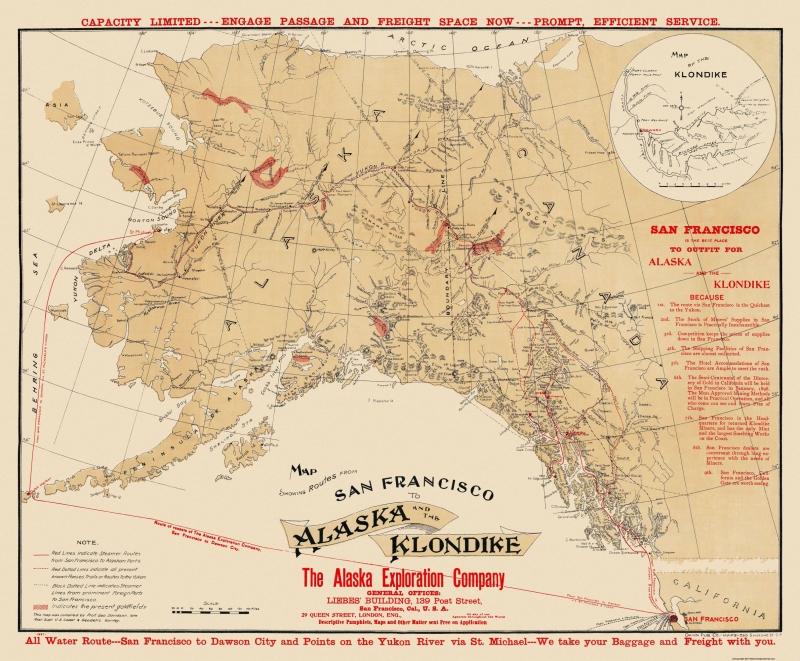 2cca3d68b8e5 Old Mining Map - San Francisco to Alaska - Klondike Alaska - 1897 - 23 x  27.84