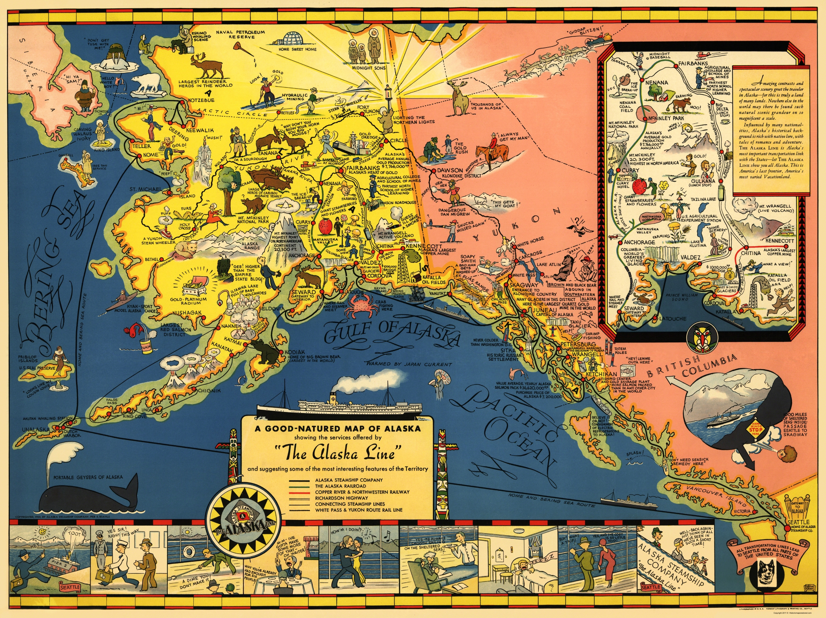 Old Travel Map - Alaska Steamship Co - Farwest 1934