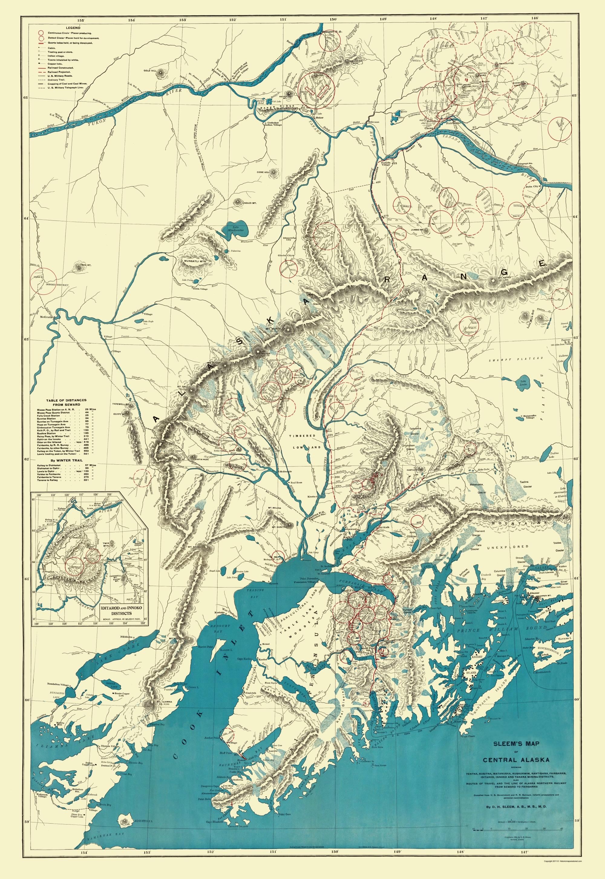 Old State Map Alaska Central Portion Sleem - United states map alaska