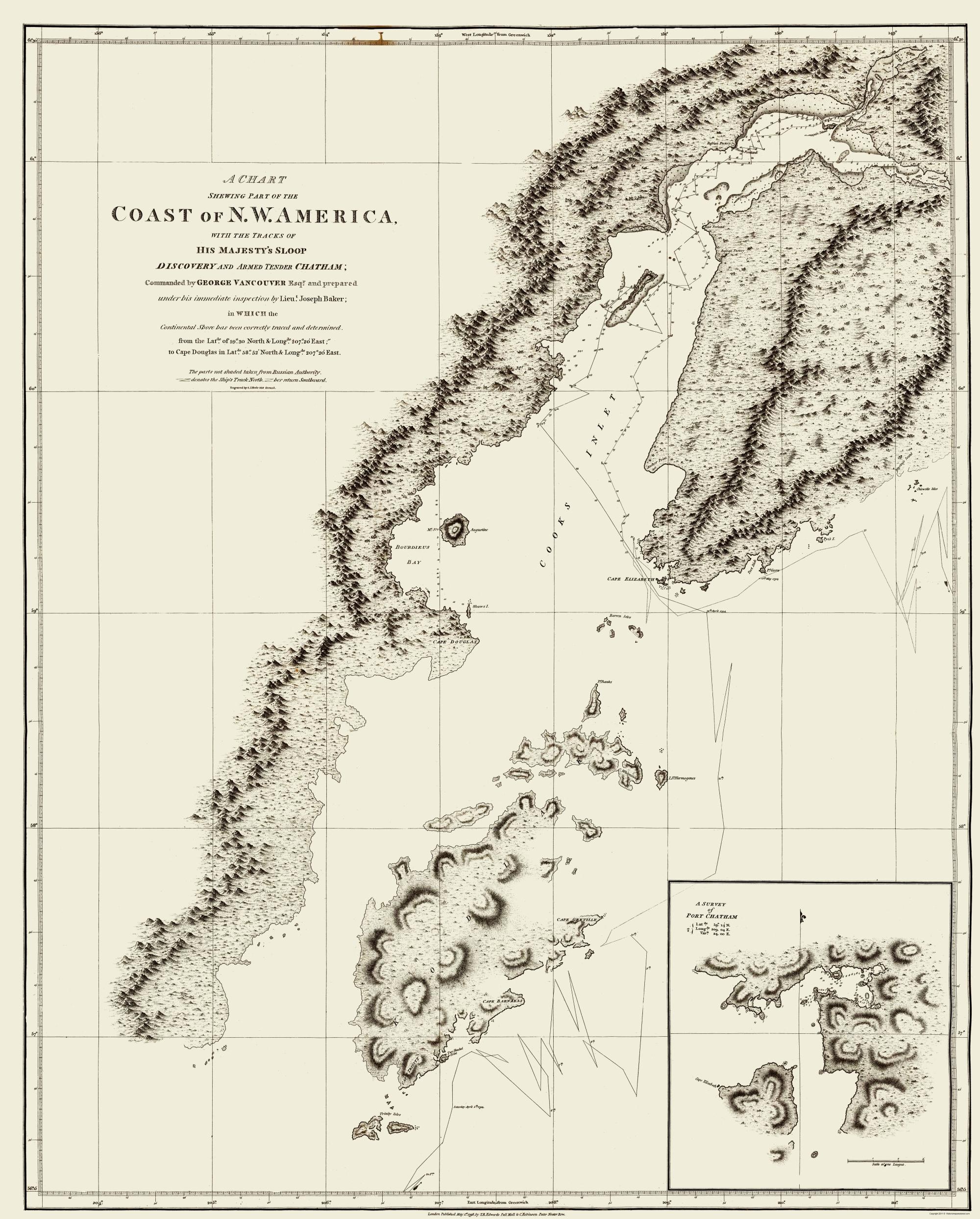 Old State Map Alaska Coast Robinson 1798