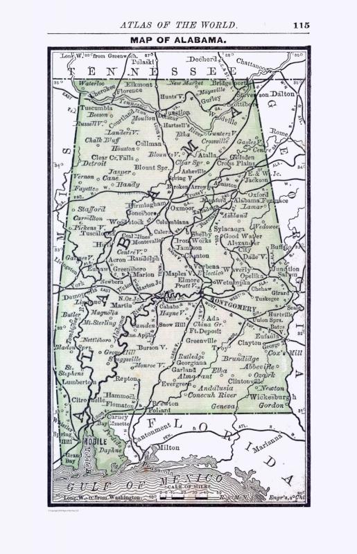 picture regarding Printable Map of Alabama named Previous Region Map - Alabama - Alden 1886 - 23 x 35.75