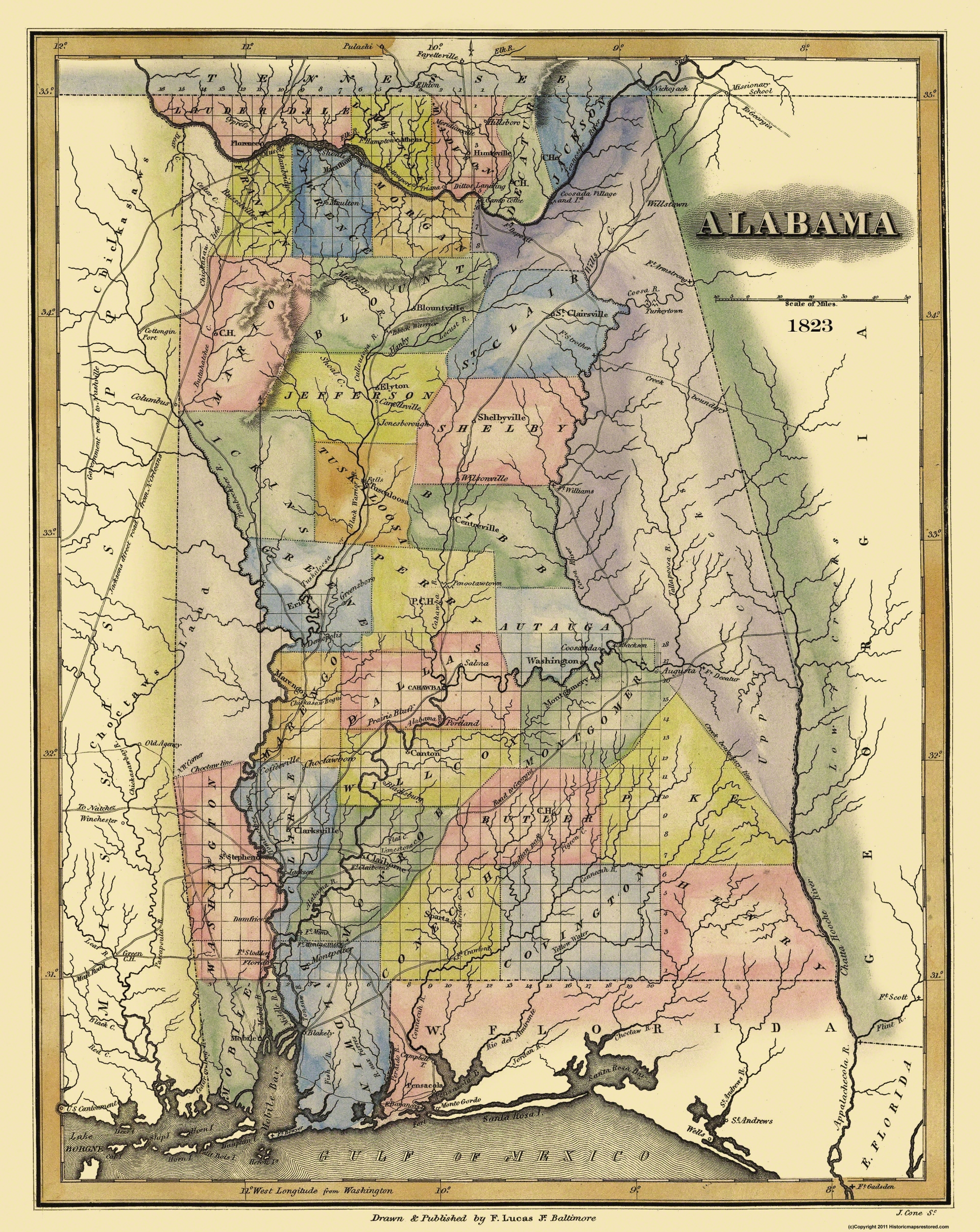 Old State Map Alabama Lucas - 1823 us map