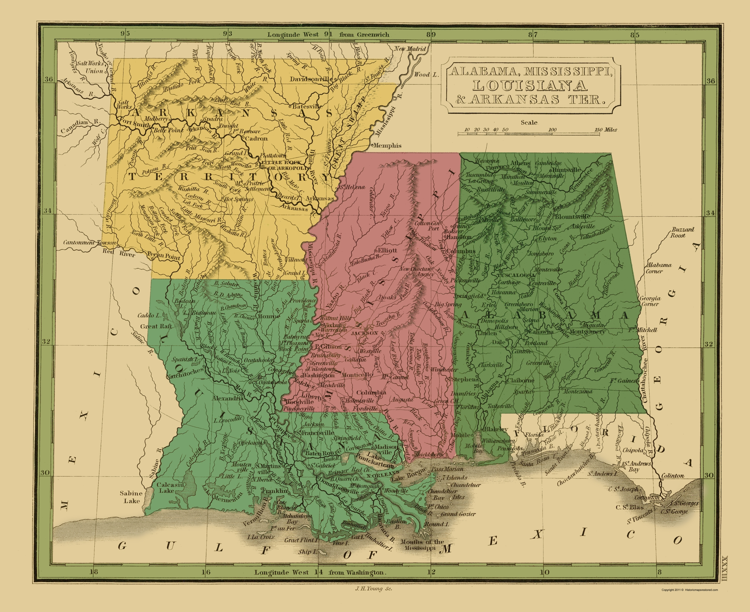 Old Map   Alabama, Mississippi, Louisiana, Arkansas 1830