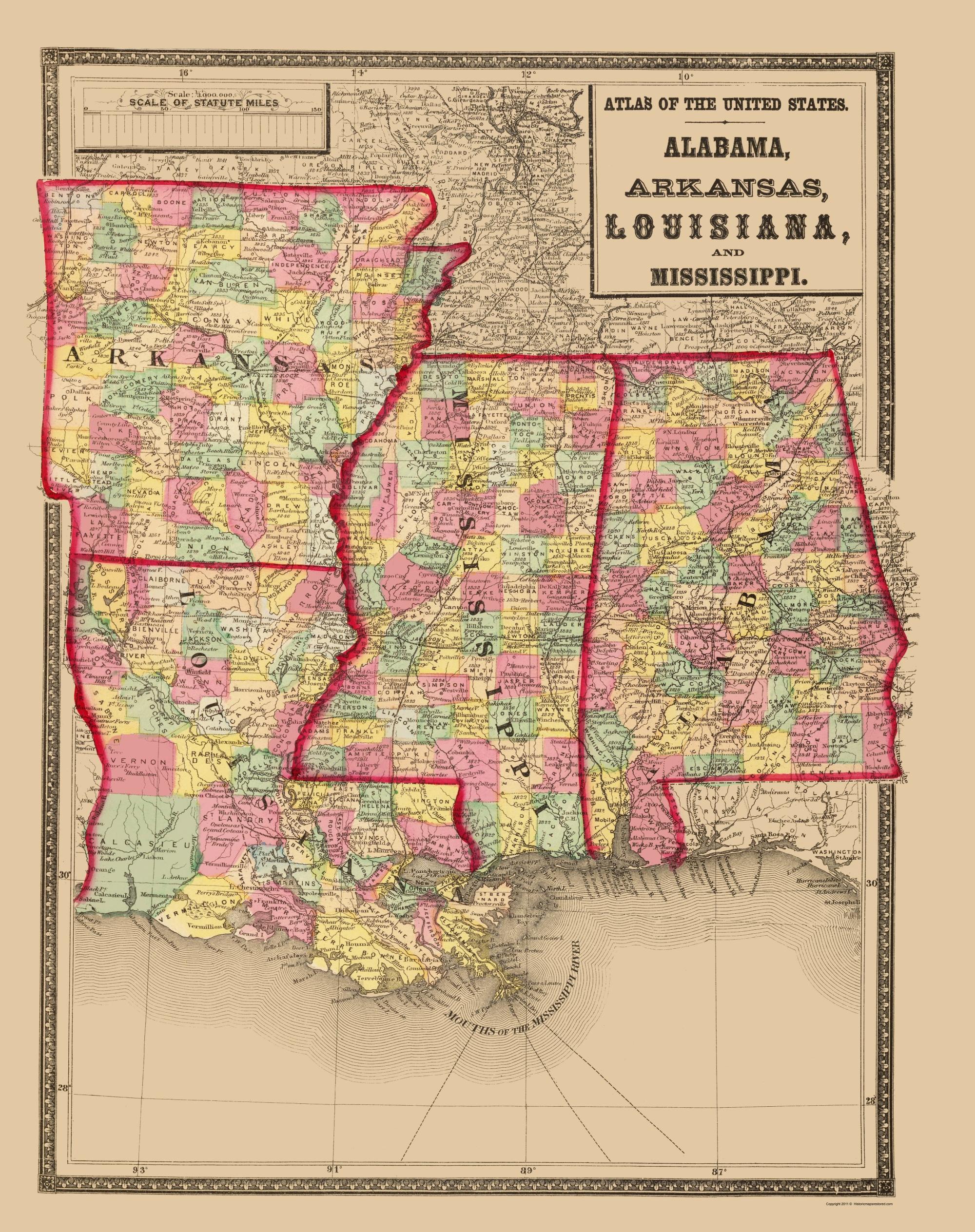 Old Map Alabama Arkansas Louisiana Mississippi 1873