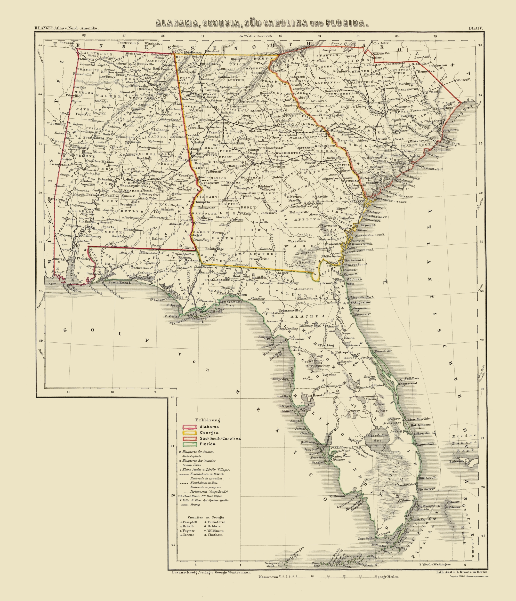 Florida And Georgia Map.Old Map Alabama Georgia South Carolina Florida 1854