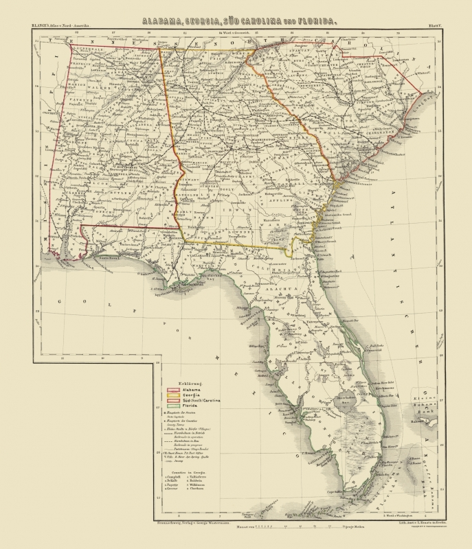 Old Map Alabama Georgia South Carolina Florida 1854