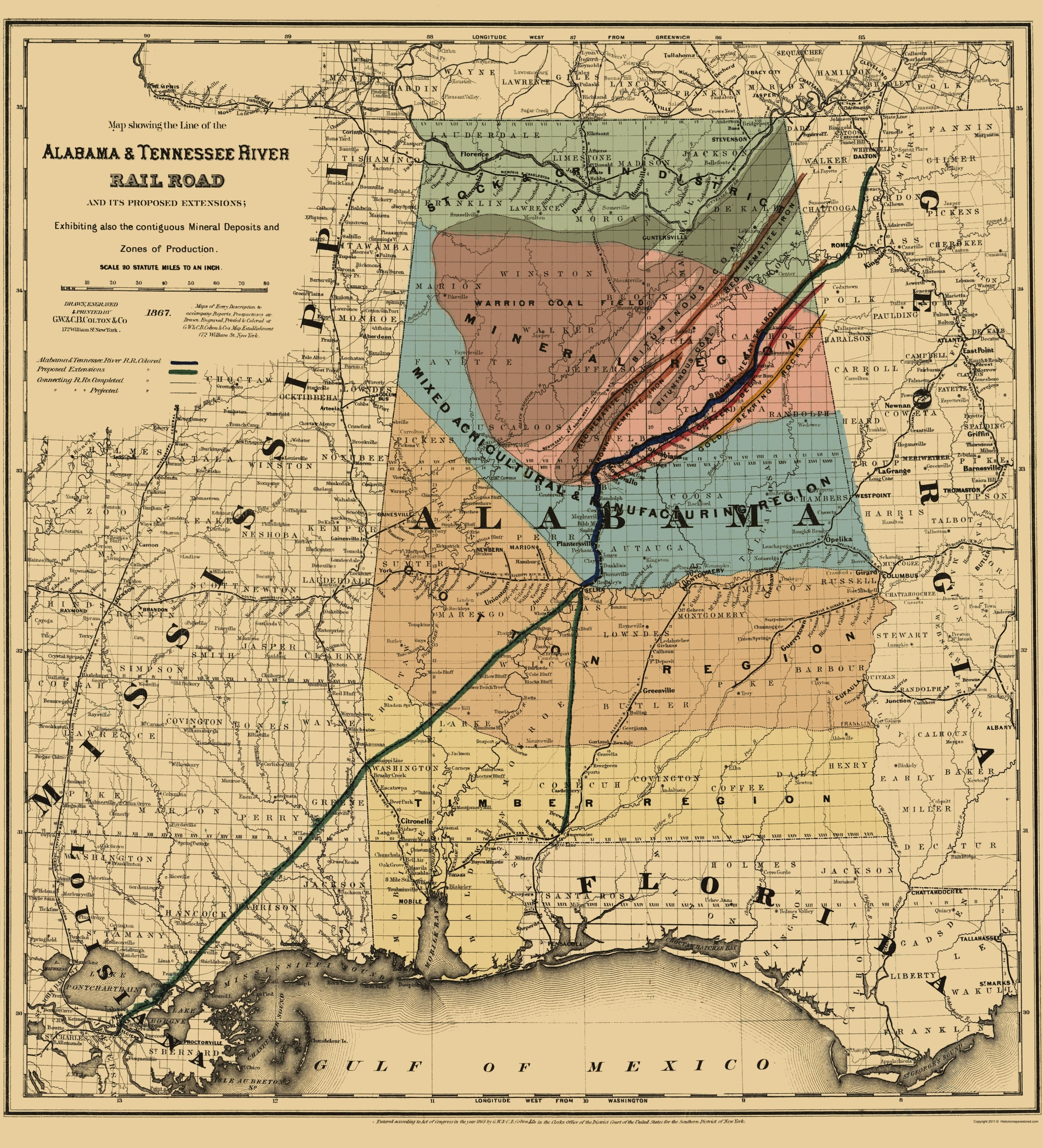 Old Railroad Map Alabama And Tennessee River - Us railroad map 1865