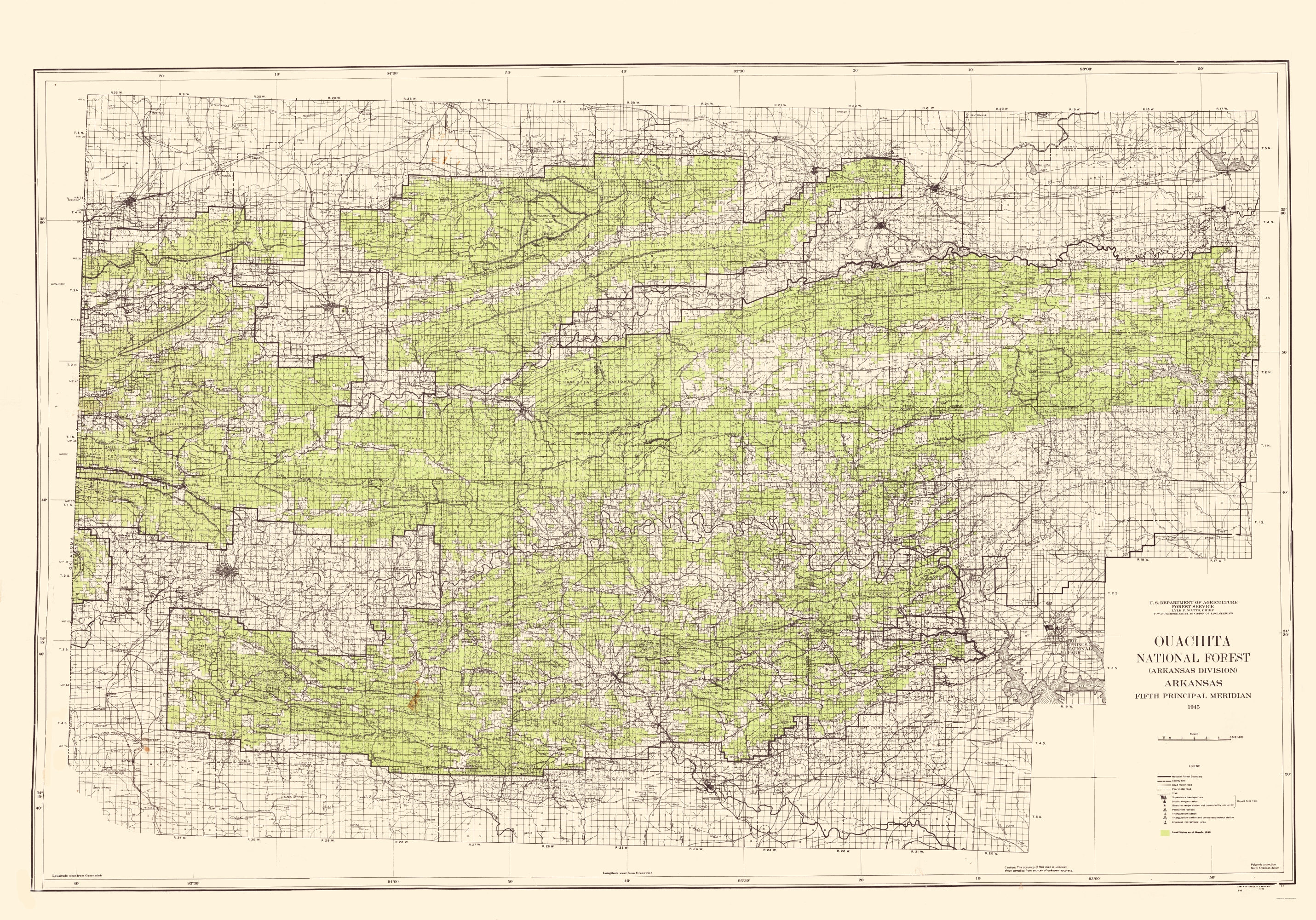 Topographical Map Ouachita National Forest - Us map of forest types