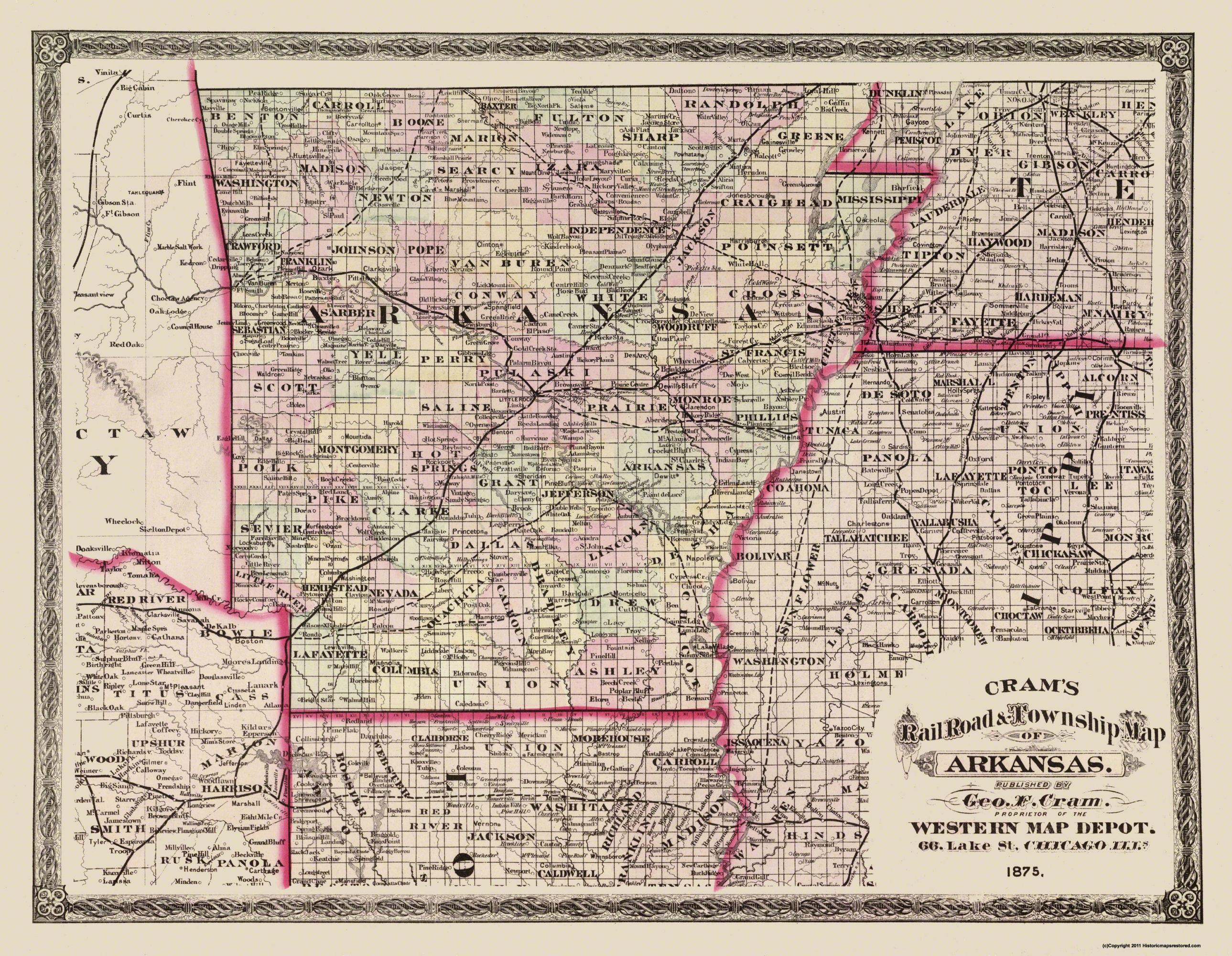 Old State Map Arkansas Cram 1875