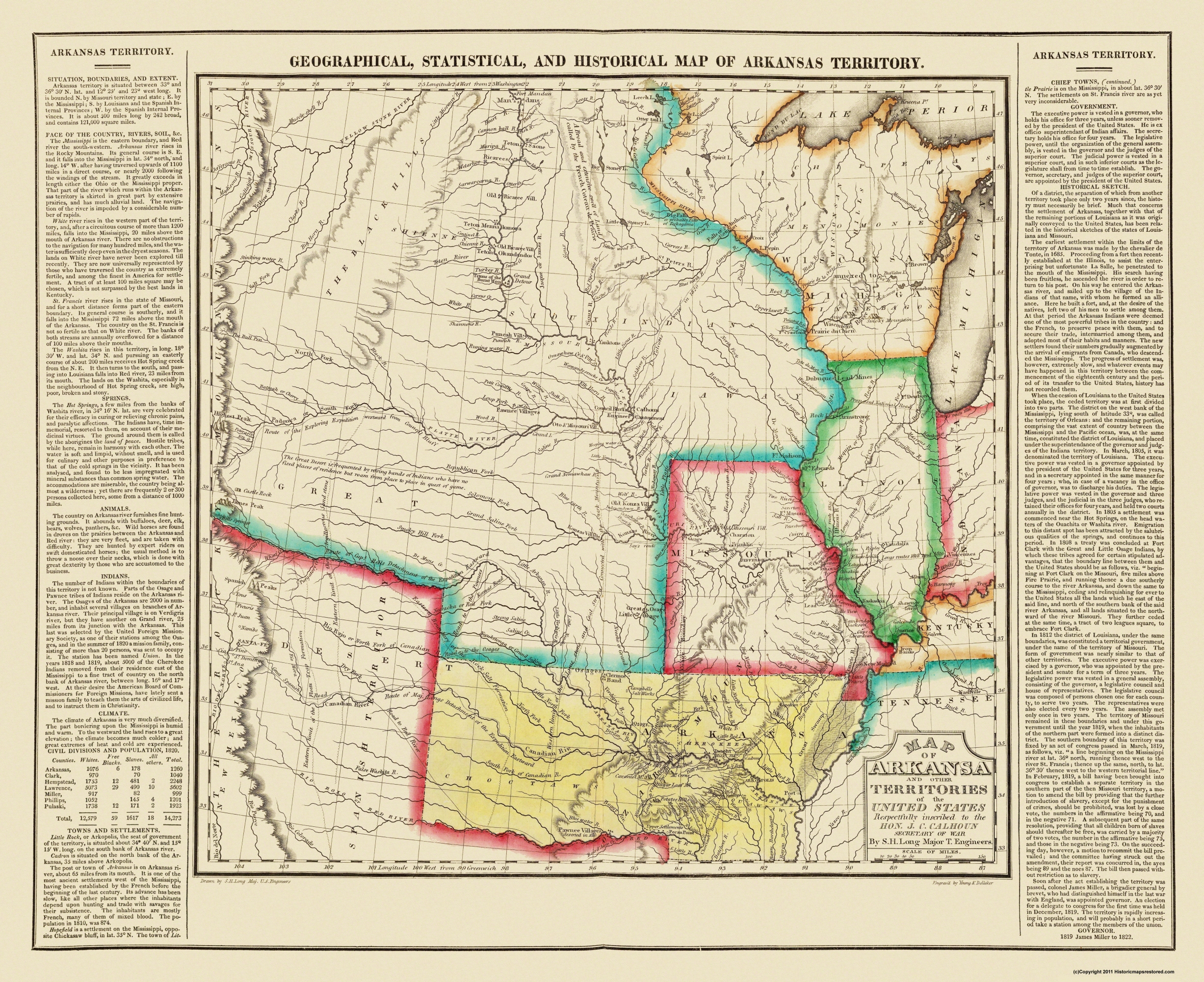 Old State Map - Arkansas Territory - Long 1822