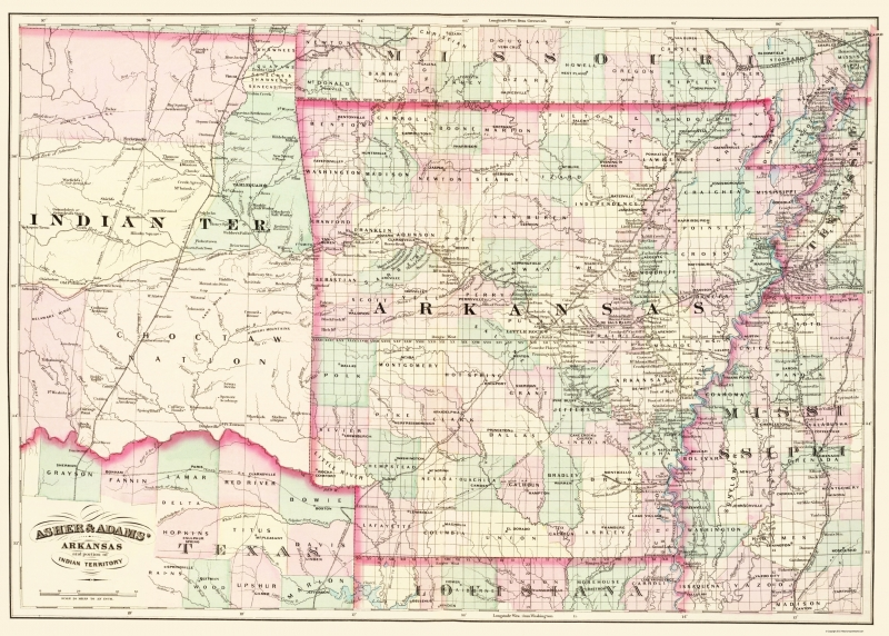 Old State Map - Arkansas, Indian Territory - Asher and Adams 1874 - on old indian home, old indian car, british india map, old indian calendar, oval world map, ancient india map, old compass vector, medieval india map, old indian flag, old indian area, old indian painting, telugu india map, old indian water, western ghats india map, old indian art, old plat maps of indiana, old indian mat, old indian film, early india map,